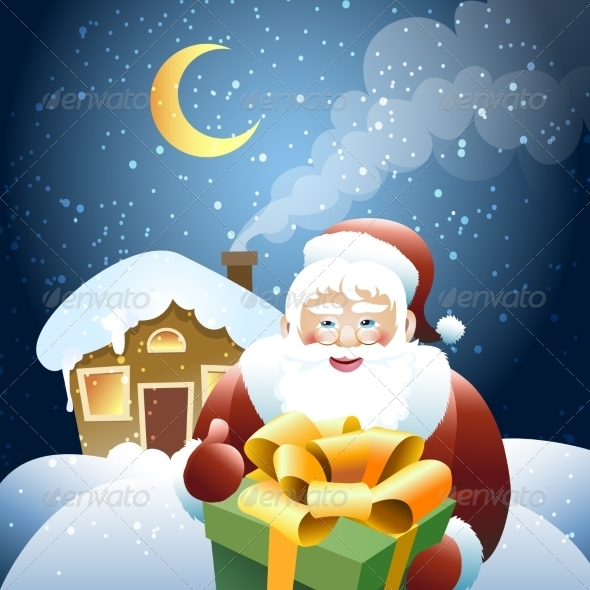 GraphicRiver Santa Claus with Christmas Gift 8634942