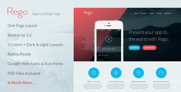 ThemeForest Rego App Landing Page 8618314