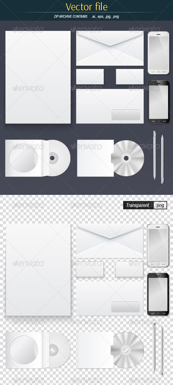 GraphicRiver Office Supply Set Mock-Up 8635436