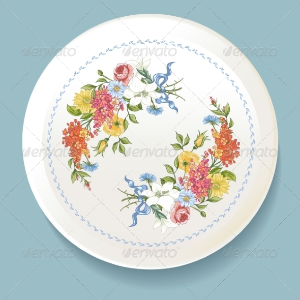 GraphicRiver Baroque Bouquet of Wildflowers on White Plate 8635504