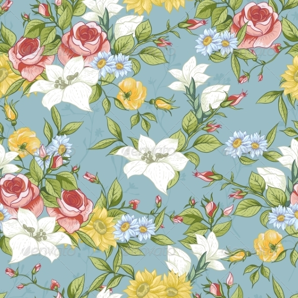 GraphicRiver Seamless Pattern with Vintage Wildflowers 8635640