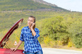Young woman near broken car - PhotoDune Item for Sale