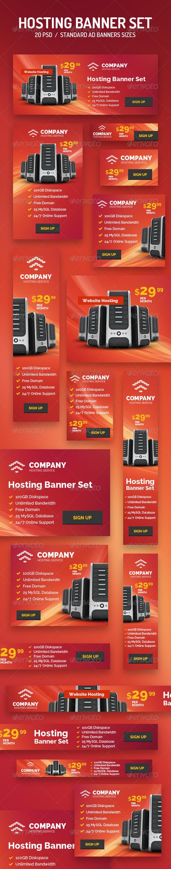 GraphicRiver 20 Hosting Banner Set 8636025