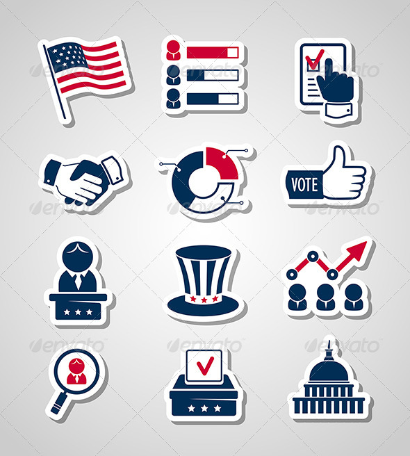 GraphicRiver Voting and Elections Paper Cut Icons 8636072