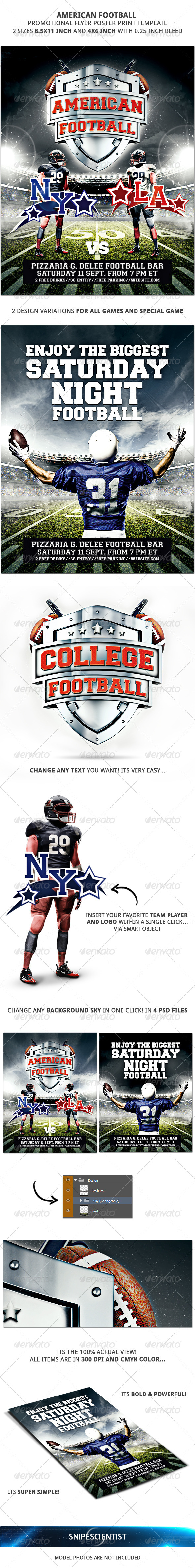 American Football Promotional Flyer Poster 2 Sizes