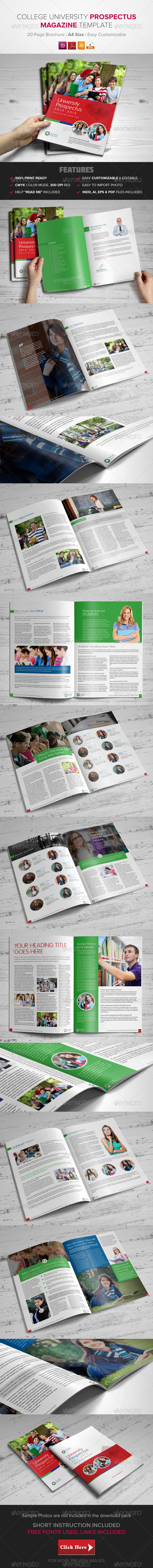 GraphicRiver College University Prospectus Magazine Template 8636861