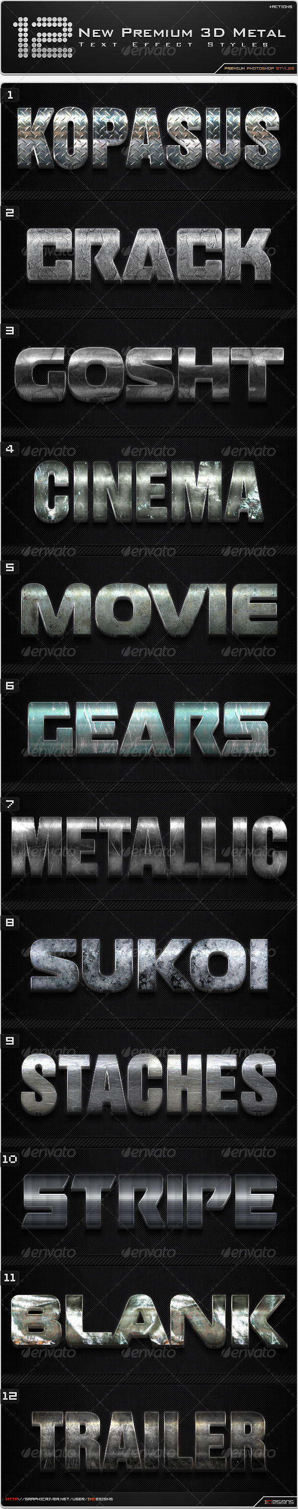 GraphicRiver 12 New Premium 3D Metal Styles & Actions 8636901