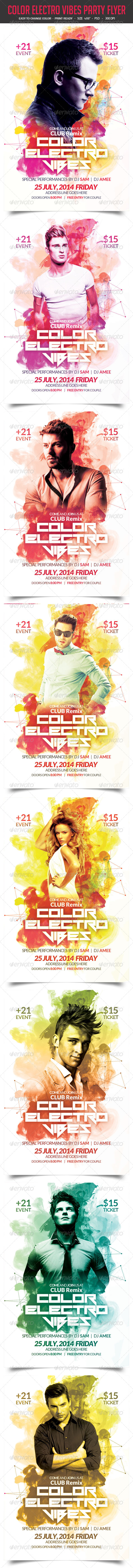 GraphicRiver Color Electro Vibes Party Flyer 8626531