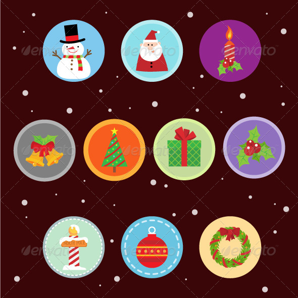 GraphicRiver 10 Flat Christmas Icons 8637144