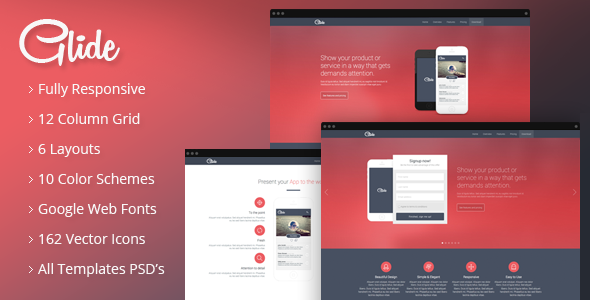 ThemeForest Glide Responsive App Landing Page 8597692