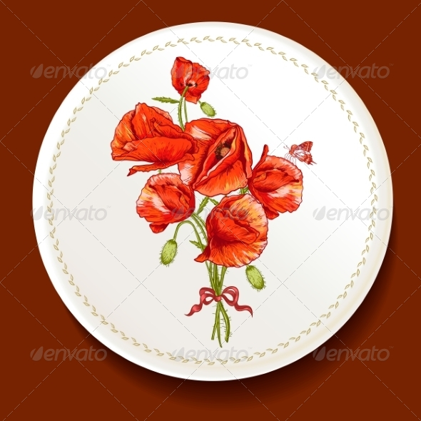 GraphicRiver Beautiful Bouquet of Red Poppy on a White Plate 8638519