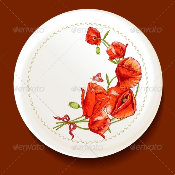 GraphicRiver Beautiful Bouquet of Red Poppy on a White Plate 8638522