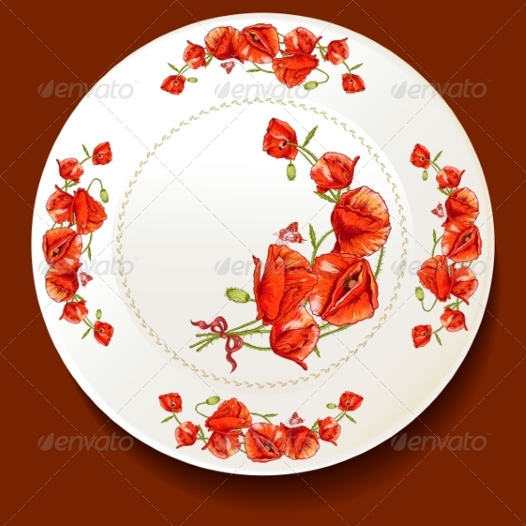 GraphicRiver Beautiful Bouquet of Red Poppy on a White Plate 8638530