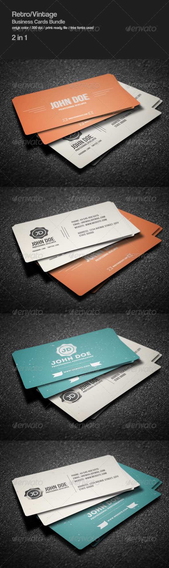 GraphicRiver Retro Business Cards Bundle 8638612