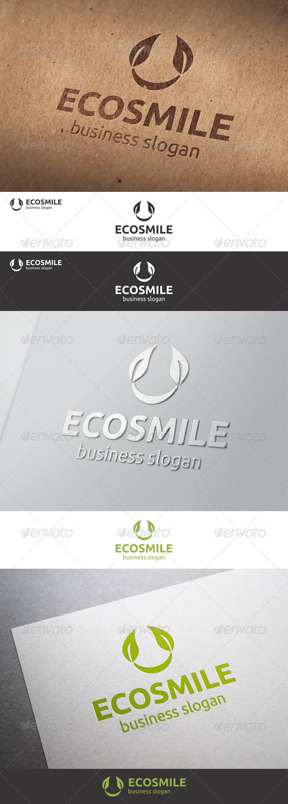 Eco Smile - Branch Nature Logo - Nature Logo Templates