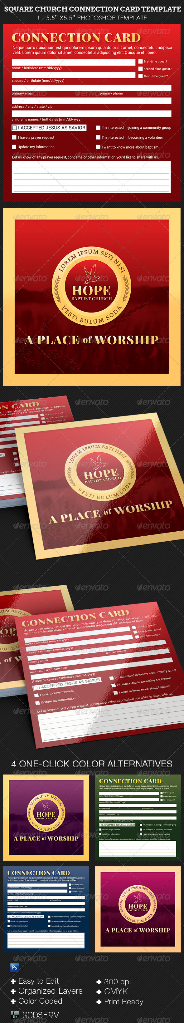 Church Square Connection Card Template - Church Flyers