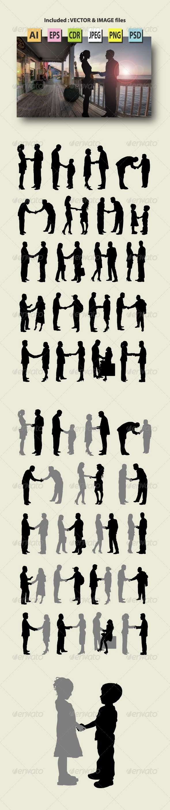 GraphicRiver People Handshake Silhouettes 8639087