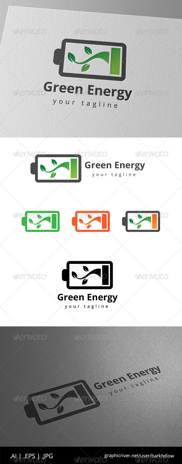 GraphicRiver Green Energy Battery Logo 8639516