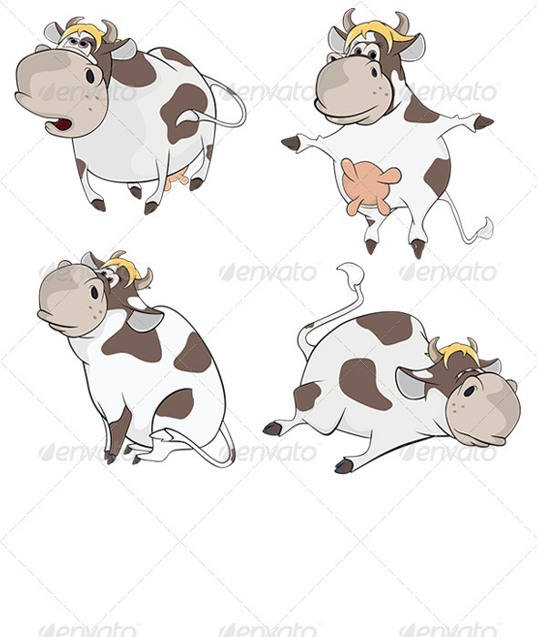 Set of Cows Cartoon