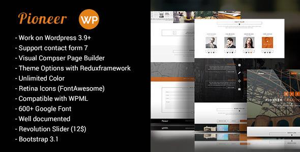 Pioneer - One Page Creative WordPress Theme