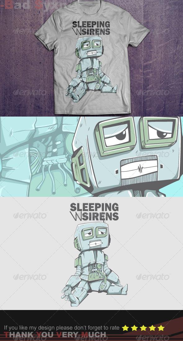 GraphicRiver Little Robots T-Shirt Design 8639793