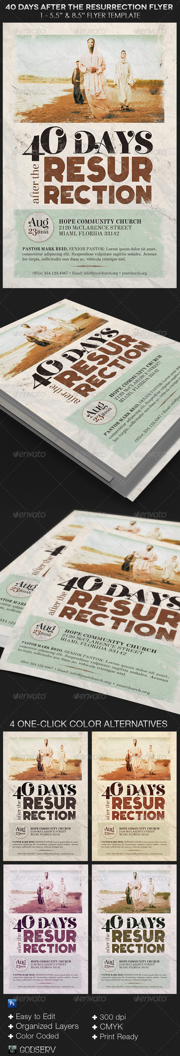 GraphicRiver 40 Days After The Resurrection Flyer Template 8639813