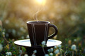 morning coffee with black cup in the flower grass background. - PhotoDune Item for Sale