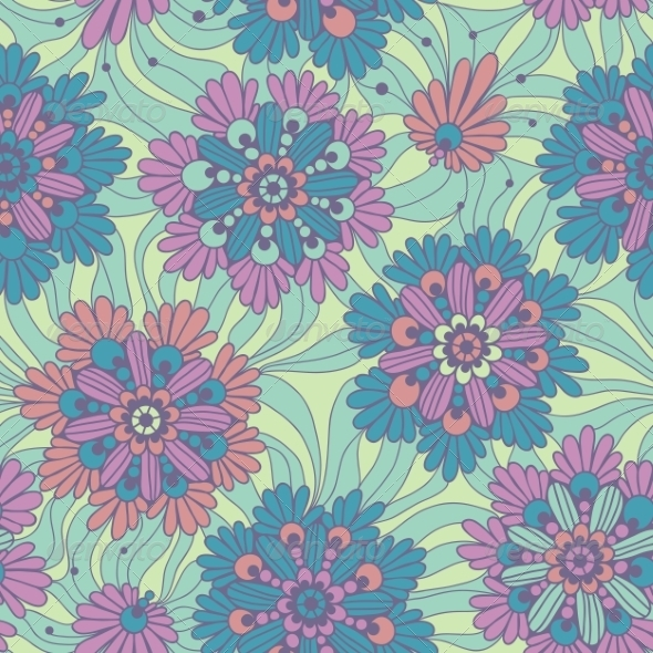 GraphicRiver Decorative Flowers Seamless Floral Pattern 8639998