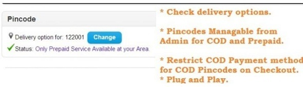 Pincode/ Postcode based COD and Sevicability check