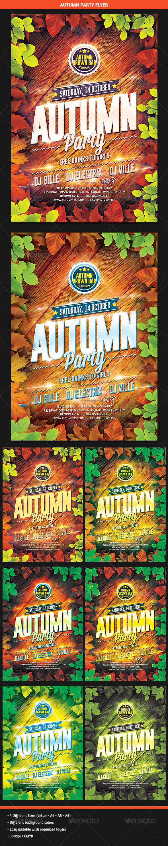 GraphicRiver Autumn Party Flyer 8640349