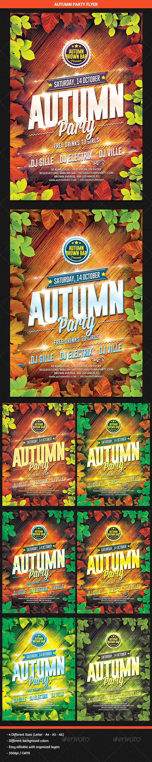 GraphicRiver Autumn Party Flyer 8640349