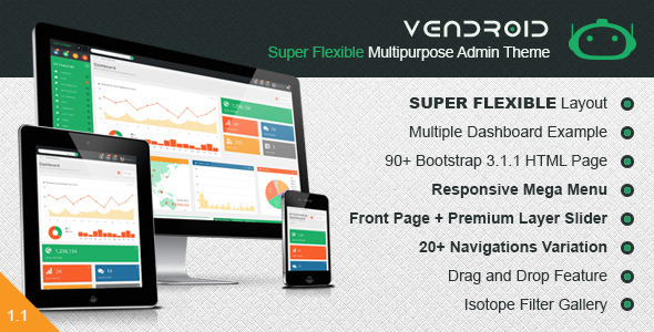 Admin &amp; Dashboard Themes - Vendroid - <p>  Super Flexible Multipurpose Admin Template </p>
