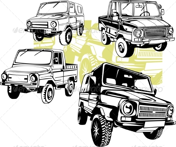 GraphicRiver Off-Road Cars Vector Set 8640391