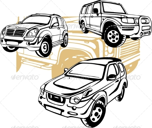 GraphicRiver Off-Road Cars Set 8640441