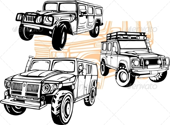 GraphicRiver Off-Road Cars Set 8640443