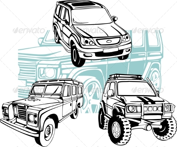 GraphicRiver Off-Road Cars Vector Set 8640444
