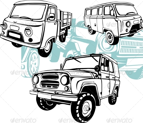 GraphicRiver Off-Road Cars Vector Set 8640445