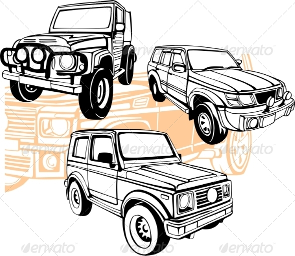 GraphicRiver Off-Road Cars Vector Set 8640447