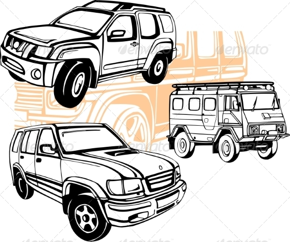GraphicRiver Off-Road Cars Vector Set 8640448