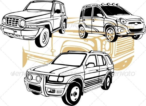 GraphicRiver Off-Road Cars Vector Set 8640450