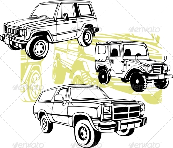 GraphicRiver Off-Road Cars Vector Set 8640451