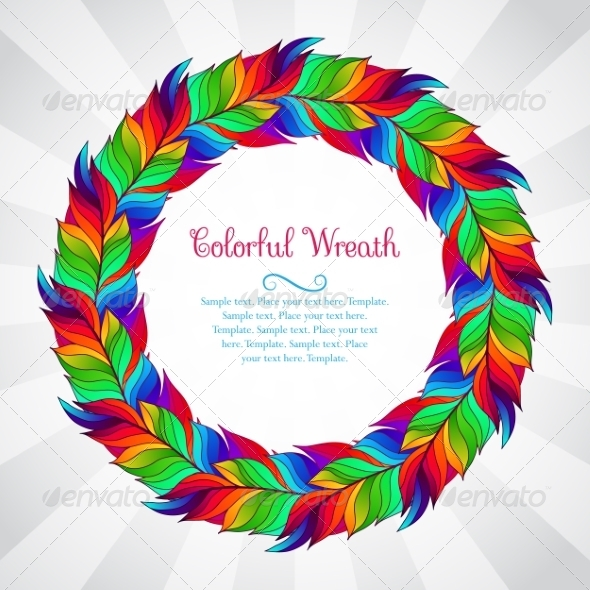 GraphicRiver Colorful Wreath of Rainbow Feathers 8640453