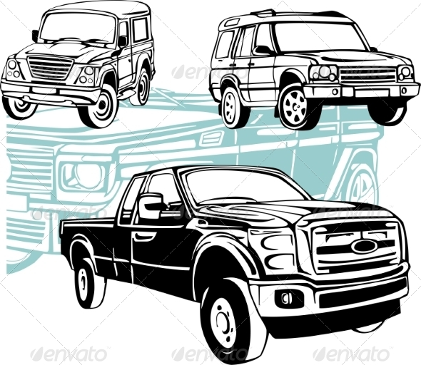 GraphicRiver Off-Road Cars Vector Set 8640454