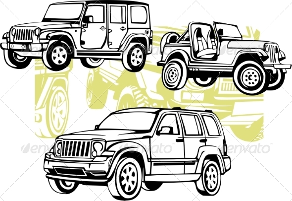 GraphicRiver Off-Road Cars Vector Set 8640456