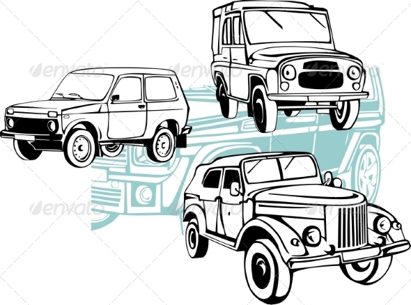 GraphicRiver Off-Road Cars Vector Set 8640457