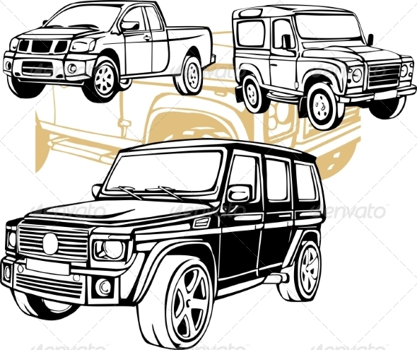 GraphicRiver Off-Road Cars Vector Set 8640459