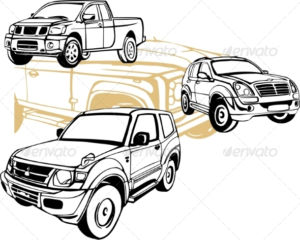 GraphicRiver Off-Road Cars Vector Set 8640483