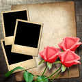 Polaroid-style photo on a linen background with red roses - PhotoDune Item for Sale