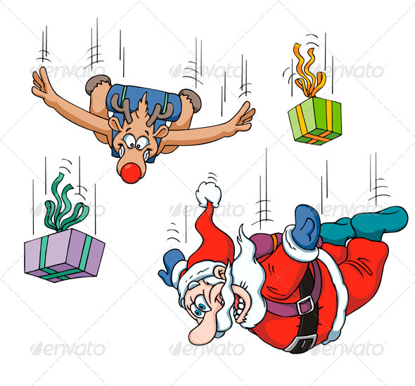 GraphicRiver Santa and Reindeer Sky Diving 8641069
