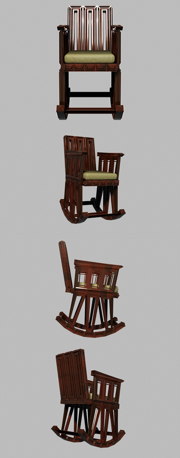 3DOcean Wooden Rocking Chair 8640533